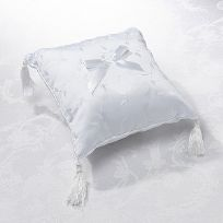 White Elegant Satin Wedding Ring Cushion